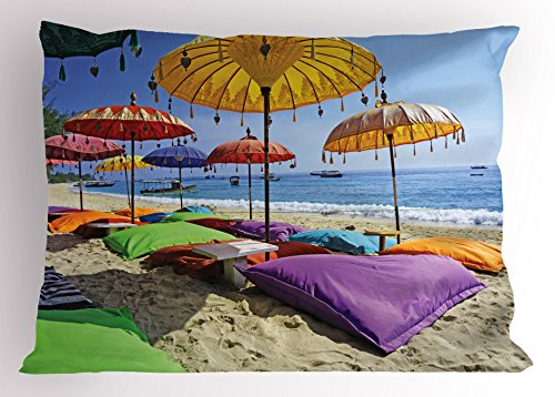 Balinese Decorative Umbrella (Balinese Pillow Sham by Ambesonne, Pristine Beach Bathed by the Bali Sandy Seashore Daytime Umbrellas Pillows Leisure, Decorative Standard Size Printed Pillowcase, 26 X 20 Inches, Multicolor)