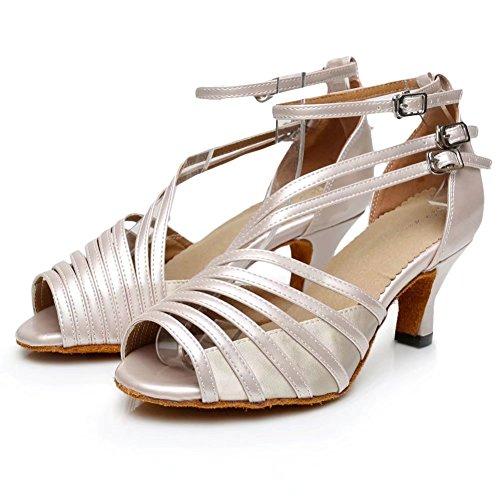 Cdsodance Femmes Élégant Peep Toe Peau Pu Cuir / Satin Salle De Bal Morden Salsa Latine Tango Danse Sandales Beige - 6cm Talon