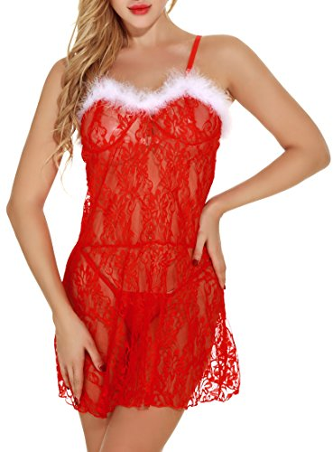 Christmas Lingerie With Various Styles For Women Sexy Santa Sleepwear(XL,Style (Sexy Santa Set)