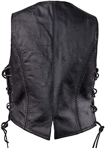 Womens Black Leather Motorcycle Vest with Braid on Front and Back Side Laces