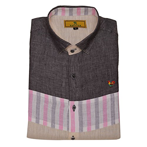 0f906b730a8d Multi Color Pure Linen Designer Shirt (Large-40) - Rooster Den  Amazon.in   Clothing   Accessories