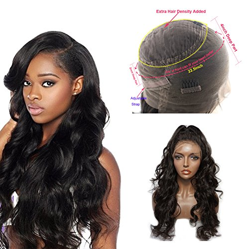 360 Lace Front Human Hair Wigs Body Wave 150% Density Brazilian Human Hair 360 Lace Frontal Wig with Pre Plucked Natural Hairline Baby Hair 360 Full Lace Human Hair Wig (16 inches) by AILAVEU