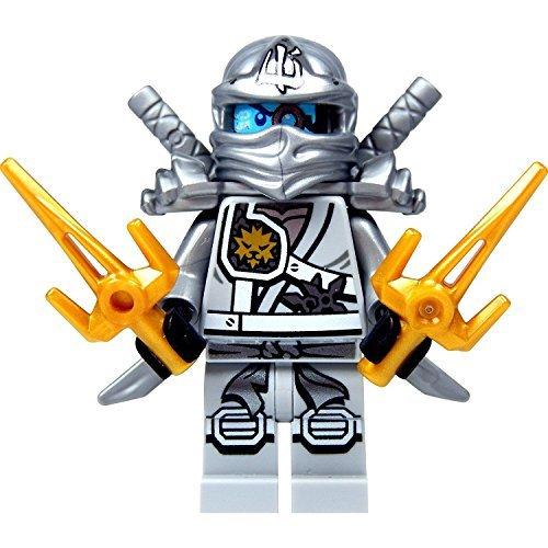 LEGO Ninjago Minifigure - Zane Titanium Ninja with Gold & Silver weapons -