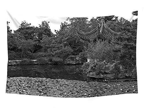 PUPBEAMO PRINTS Dr. Sun Yat-Sen Classical Chinese Garden - #34028 - Wall Tapestry Art for Home Decor Wall Hanging Tapestry 60x40 inches Black and White (Dr Sun Yat Sen Classical Chinese Garden)