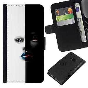 // PHONE CASE GIFT // Moda Estuche Funda de Cuero Billetera Tarjeta de crédito dinero bolsa Cubierta de proteccion Caso HTC One M9 / Black & White Gilr Sexy Face /