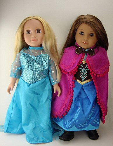 Elsa and Anna Princess Costumes includes Anna's Cape and boots For 18 Inch American Girl Doll Clothes]()