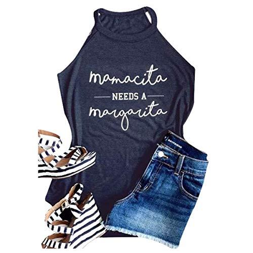 (Mamacita Needs A Margarita Tank Women Round Neck Sleeveless Funny Tshirt Vest Tee Size M (Navy Blue))