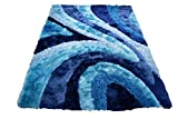 8'x10' Turquoise Blue 3D Shag Shaggy Area Rug Carpet Striped Woven Braided Hand Knotted Feizy Accent Fluffy Fuzzy Modern Contemporary Medium Pile Shimmer – Signature 70 Turquoise Review
