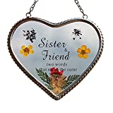 Stained Glass Sun catcher For Windows Sister Heart Sister Suncatcher with Pressed Flower Wings - Heart Suncatcher - Sister Gifts Gift for Sister's Day (4.54.5 Sister)