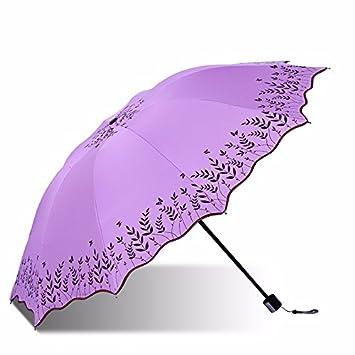 PEIWENIN-Protector solar de las señoras paraguas UV paraguas portátil plegable soleado día lluvioso general