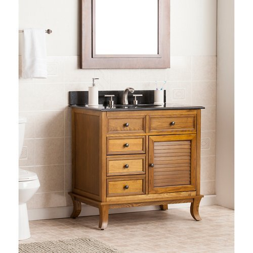 Wallingford Bath Vanity in Warm Weathered Oak Finish - Oak Finish Farmhouse