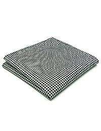 Shlax&Wing Checked Black White Handkerchieves Mens Neckties Hanky Pocket Square
