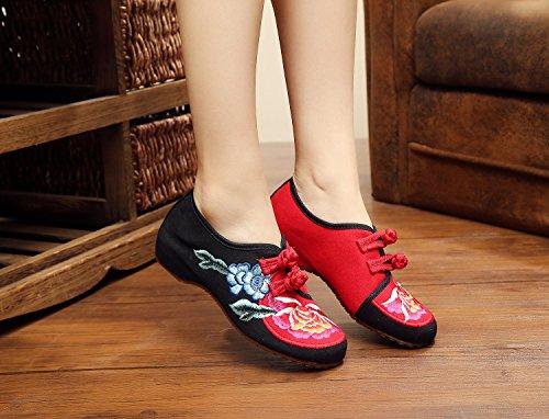 ZLL Gestickte Schuhe, Leinen, Sehnensohle, ethnischer Stil, weibliche Schuhe, Mode, bequeme Abdeckung der Fuß black