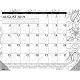 House of Doolittle 2019-2020 Monthly Desk Pad Calendar, Academic, Black and White Doodle, 18.5 X 13 Inches, August - July (HOD18765-20)