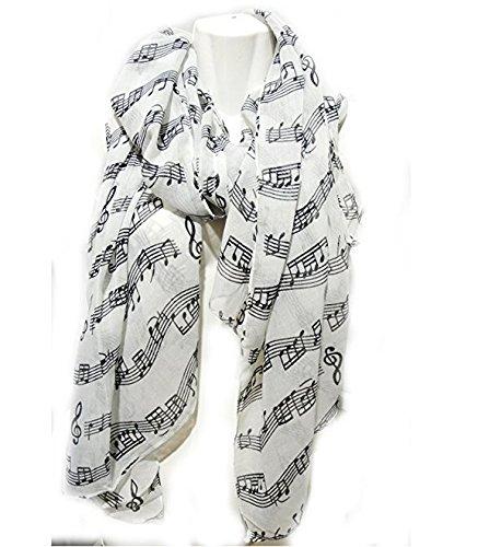 Bandn Fashion - Bufanda de piano para violín, diseño de notas musicales (color negro y blanco) BANCN