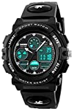 Gosasa Multi Function Digital Analog Watch LED Quartz Water Resistant Sport Watches for Boys Black