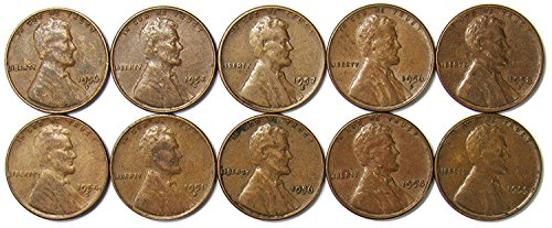 1950-1958 Lot of 10 Wheat Cents - Different Dates/Mint Marks/Grades (1955 Mint)