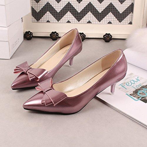 38 Scarpette alto basse con Xue punta argento tacco Scarpe tacco donna Scarpe con rosse scarpe Qiqi viola a col moda da piccolo 5vX8TXRwq