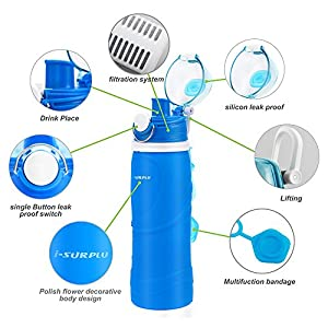 i-SURPLU Activated Carbon Filter Collapsible Water Bottle,BPA Free,26oz,Silicone Folding Activated Carbon Bottle,The Smart Hydration Solution for Sport,Outdoor,Travel,Camping,Picnic ( Vibrant Blue)