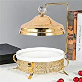 Food Serving Tray Set Luxury Golden Display Stand with White Ceramic Dishes Fruit Plate Basket for Salad Bowls Fruit Cake Cookies for Parties Hosting (XRA-234)