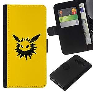 """A-type (Meter Monster Amarillo"""") Colorida Impresión Funda Cuero Monedero Caja Bolsa Cubierta Caja Piel Card Slots Para Samsung Galaxy Core Prime"""