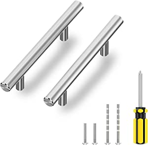 """Nisuoien Cabinet Handles 30 Pack Drawer Pulls - 5"""" Length (3"""" Hole Center) - Brushed Nickel Stainless Steel, Kitchen Cabinet Handles Pulls"""