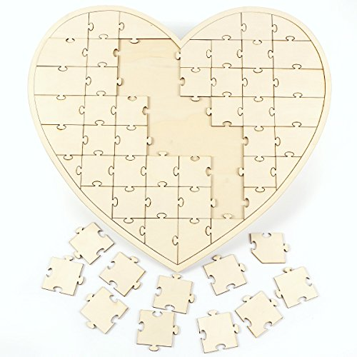 Surepromise Boho Wooden Milk Bottle Double Heart Design Puzzle Guest Book Wedding (Double Heart Keepsake)