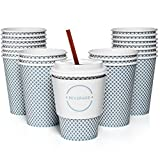 coffee cup paper - Set of 50 12oz Paper Coffee Cups, Lids, Sleeves, and Stirrers | Perfect for a Party or the Office | Drink your Coffee or Tea on the Go and in Style! | Blue Check Design