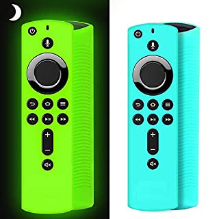 [2 Pack ] Firestick Remote Cover Case, Silicone Fire Remote Cover Case Compatible with 4K Firestick TV Stick, Firetv Remote Cover Case, Shockproof Firetv Remote Cover (Green Glow& Sky Blue Not Glow)
