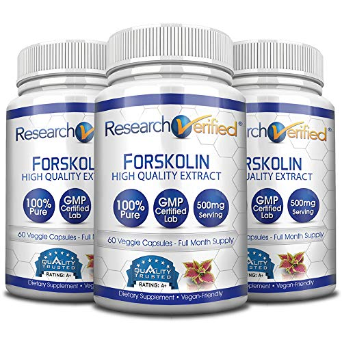 Research Verified Forskolin - 180 Capsules (Three Month Supply) - 20% Standardized Forskolin - 500mg/day - 365 Day 100% Money Back Guarantee - Try Risk Free for Fast and Easy Weight Loss