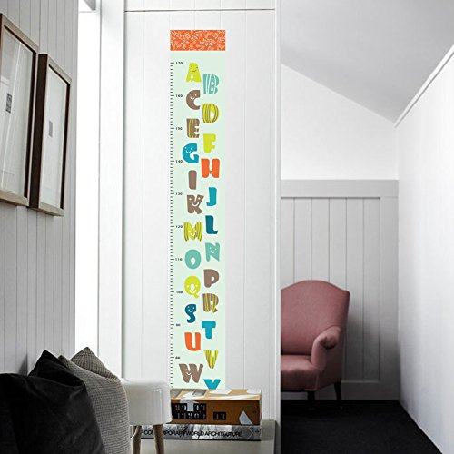 Woodland Arts 7 inches x 51 inches A to Z 26 Alphabets Letters Measurement Growth Chart Removable Vinyl Wall Decals Stickers for Children Room Nursery