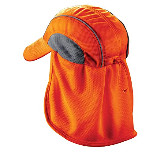 Ergodyne Chill-Its 6650 Absorptive Moisture-Wicking High Visibility Baseball Hat with Neck Shade, Orange