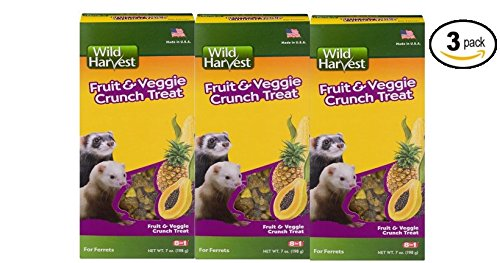 Wild Harvest Fruit and Veggie Crunch Treats for Ferrets, 7.0 oz - Pack of 3 -