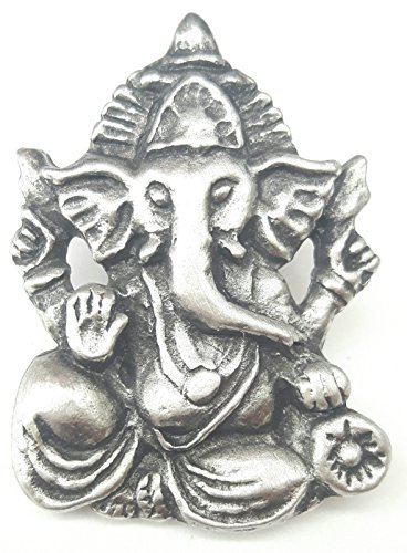 Fine Pewter Ganesh Pin Badge with Gift Pouch (Pewter Pins Fine)
