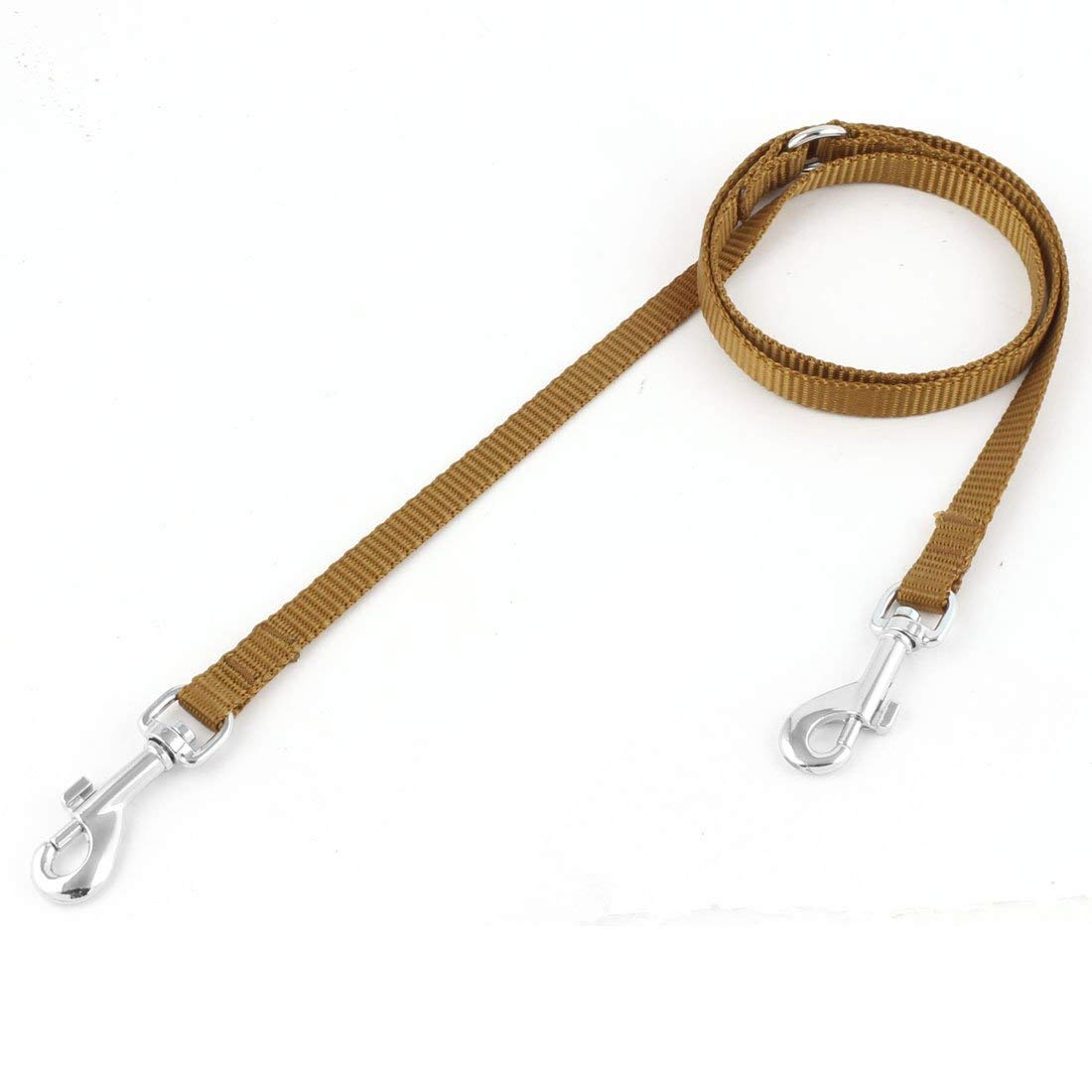 Nylon Pet Dog Puppy Double Handle Walking Lead Leashes Two Traction Rope Brown