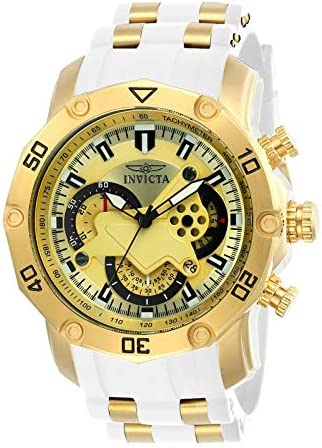 Invicta Men's Pro Diver Scuba 50mm Stainless Steel and Silicone Chronograph Quartz Watch, White/Gold (Model: 23424) WeeklyReviewer