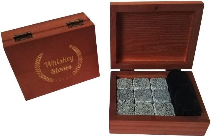Whiskey Stones Gift Set - Premium Fast Chilling Whiskey Rocks - 9 Pcs Soapstone Whiskey Gift Set Includes Wood Box and Velvet Freezer Bag. Perfect Bar Set Gift (Grey)