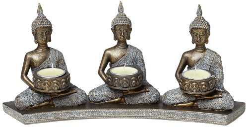 Kensington Hill Three Thai Buddhas 3-Tealight Candle Holder by Kensington Hill