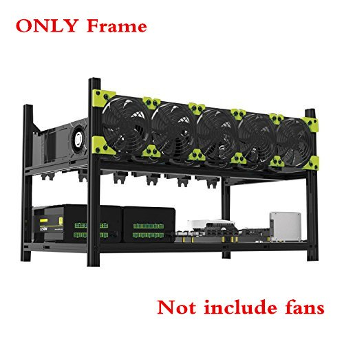 QNINE Mining Rig Frame 6 GPU, Miner Rig Case Open Air Aluminum Stackable with Maximum Airflow to Extend GPU Life, For Mine ETH Ethereum Bitcoin Altcoins Computer Kit - Aluminum Stackable