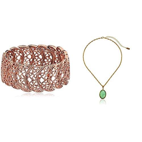1928 Jewelry Vintage Lace Half-Circle Filigree Stretch Braceletand 14k Gold Dipped Oval Pendant Necklace set