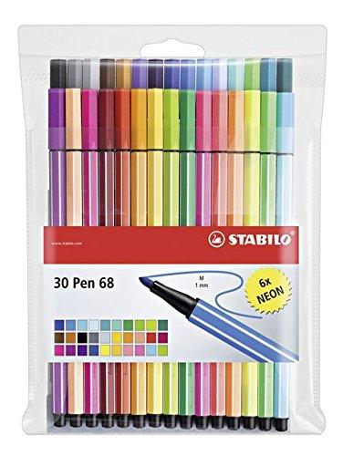 78 opinioni per STABILO Pen 68 Pennarelli colori assortiti (24+6 Neon)- Astuccio da 30