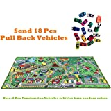 JACKSON Kid Rug Car Playmat with Roads and Train Tracks,Car Mat Play Set with 18 Cars Rug for Boys and Girl,City Play Rug with Toy Cars Great for Playing,Gift Idea Set for Children