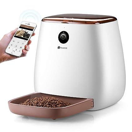 Houzetek Automatic Pet Feeder Dog Dispenser, Cat Food Dispenser with Voice Recording, Features Distribution