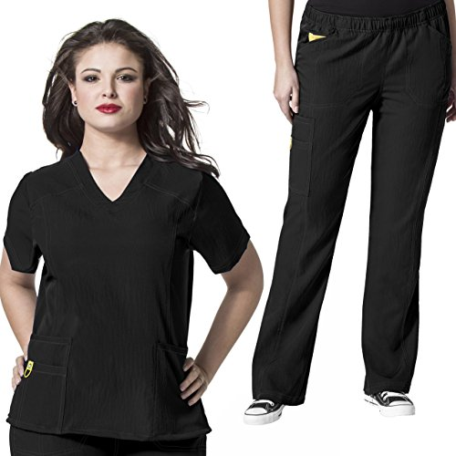 [PLUS SIZE 1X - 5X] WonderWink Womens Curved V-Nect Top & Boot Cut Cargo Pant Scrub Set + FREE GIFT