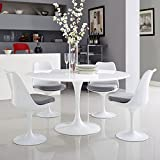 Modway Lippa 54' Mid-Century Modern Kitchen and Dining Table with Round Top and Pedestal Base in White