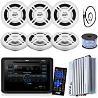 Pyle PLRVST300 RV Wall Mount Bluetooth CD/DVD Stereo Receiver Bundle Combo With 6x Enrock White 6.5 Inch 200-Watt Stereo Speaker + Radio Antenna + 400 Watt Amplifier + 18G 50-FT Speaker Wire