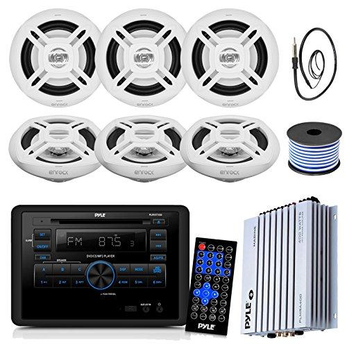 Pyle PLRVST300 RV Wall Mount Bluetooth CD/DVD Stereo Receiver Bundle Combo With 6x Enrock White 6.5'' Inch 200-Watt Stereo Speaker + Radio Antenna + 400 Watt Amplifier + 18G 50-FT Speaker Wire