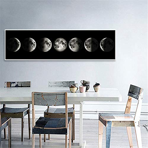 YUKANGI The Moon Canvas Poster Minimalist Art Painting Universe Wall Picture Long Banner Print Living Room Bedroom Decoration 60X225Cm
