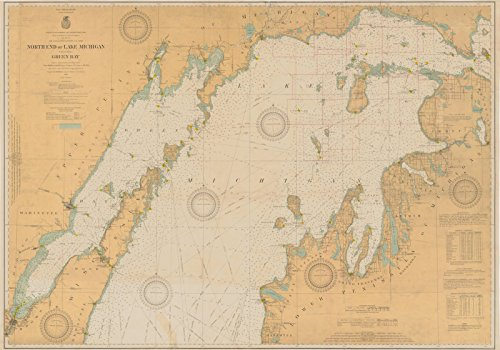 Map | North End Of Lake Michigan Including Green Bay, MI, WI, 1924 Nautical NOAA Chart | Vintage Wall Art | 36in x 24in ()
