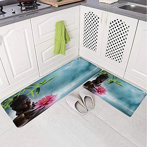 2 Piece Non-Slip Kitchen Mat Rug Set Doormat 3D Print,Flowers Spa Decor Nature Feng Shui Natural,Bedroom Living Room Coffee Table Household Skin Care Carpet Window Mat,